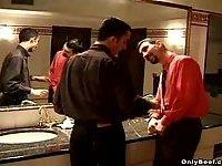 Drunk thugs pet each others pricks