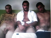 3 straight arab guys jerking their cocks on cam