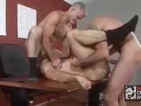 Mature Gays Threeway Fuck In Office