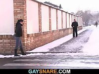 Straight dude in blindfold blown by a gay