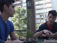 Hunky twink boys hook-up at the café