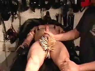 Bound guy with dick in clothespins