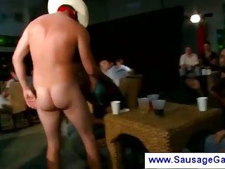 Costumed male strippers getting blowjobs