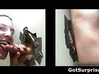 Straight man sticks his jizzster in a hole and gets BJ