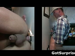 Straight guy sucked by gay guy trough hole