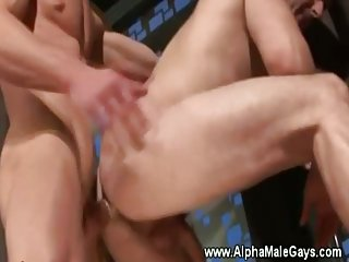 Gay stud gets hard dick pounding in his ass