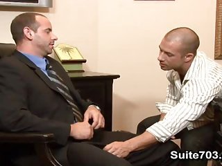 Bald gays Girth and Rod have oral and anal sex at work