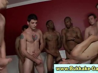 Cum drenched twink fucks and sucks