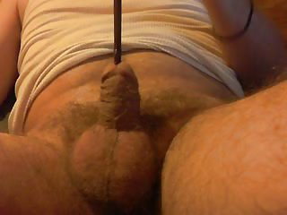 Horny Amateur Using Stuff For His Dick