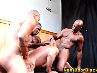 Black dudes cum on asian dude