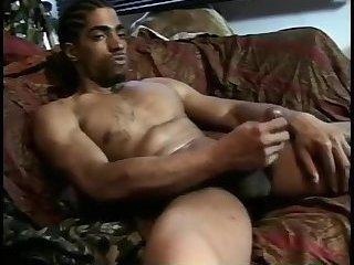 Solo black gay wanks off his cock