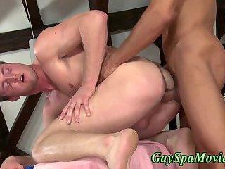 Straighty fucks and cums on masseur