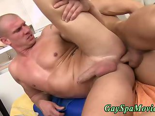 Straight guy tugs dick during anal