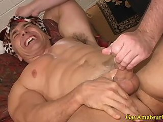 Old muscular guys hj cumshot from pal