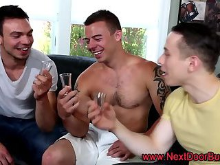 Muscled dudes group jizz