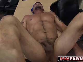 Snitch got a big cock in his mouth and anal banged